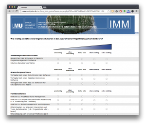 Projektmanagement Software Umfrage LMU